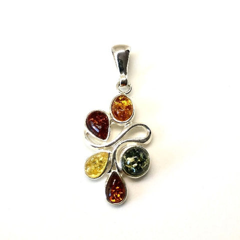 Amber and Silver Artistic Multicolour Pendant