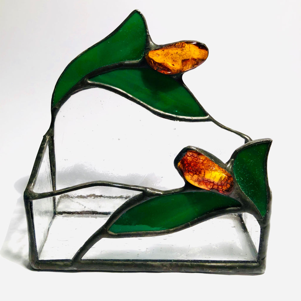 Stained Glass Business Cards Holder with Amber