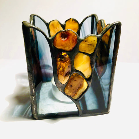 Stained Glass Candleholder with Amber