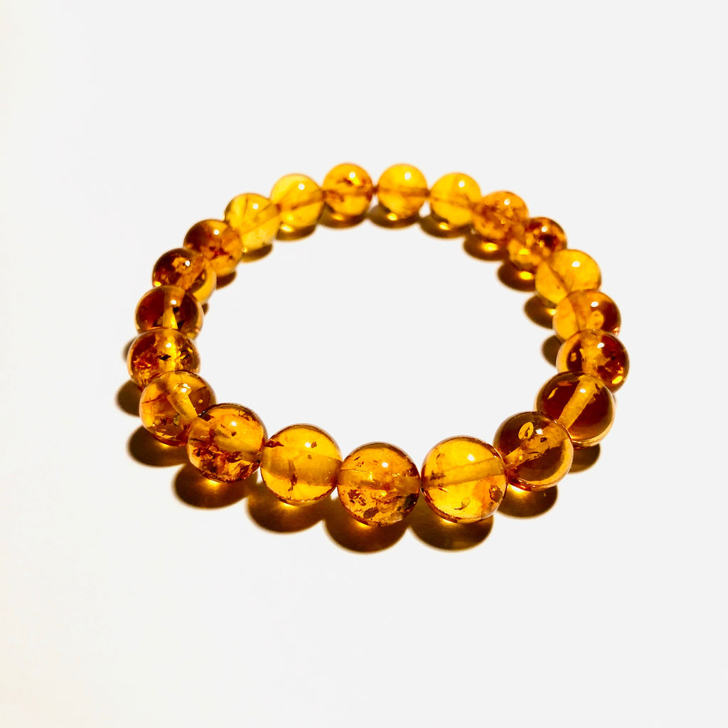 Baltic Amber Ball Bracelet on Elastic (medium)