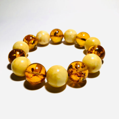 2-Color Amber Ball Bracelet