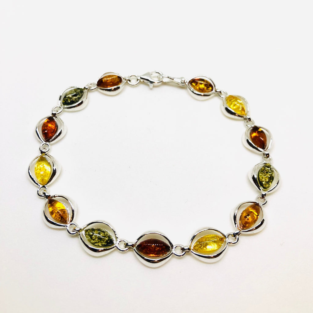 Multicolour Amber and Silver Bracelet