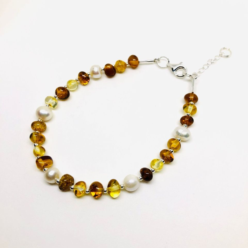 Amber and Pearls Bracelet