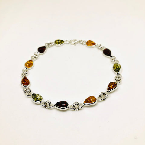 Amber and Silver Multicolour Drop Bracelet