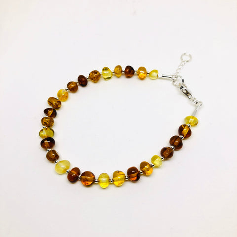 Amber and Silver Delicate Multicolor Bracelet