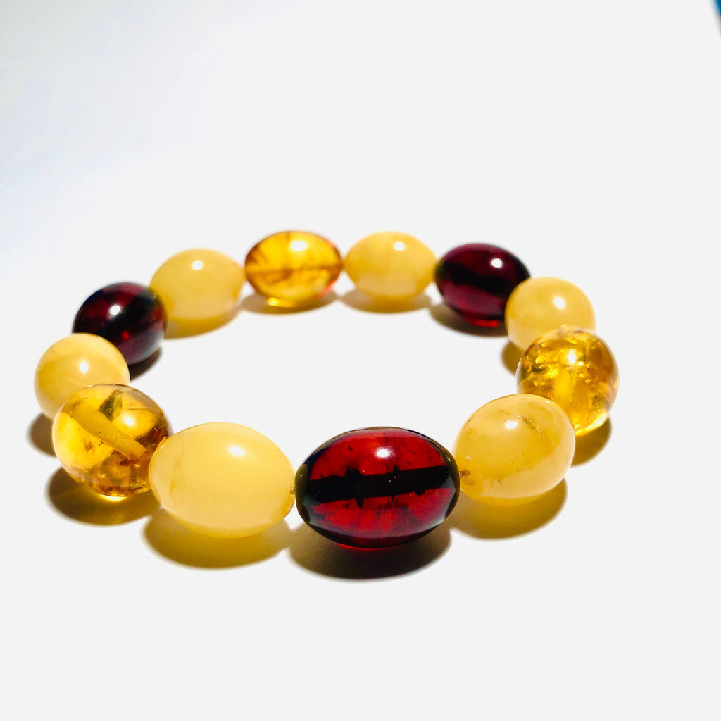Multicolour Olive-Shaped Amber Bead Bracelet