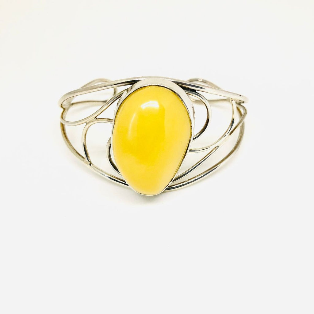 Large One Stone Baltic Amber and Silver Cuff Bracelet in Butter