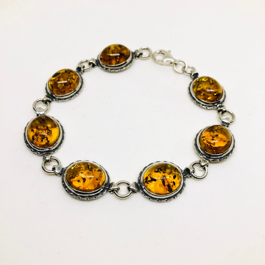Amber Link Bracelet in Rope Setting