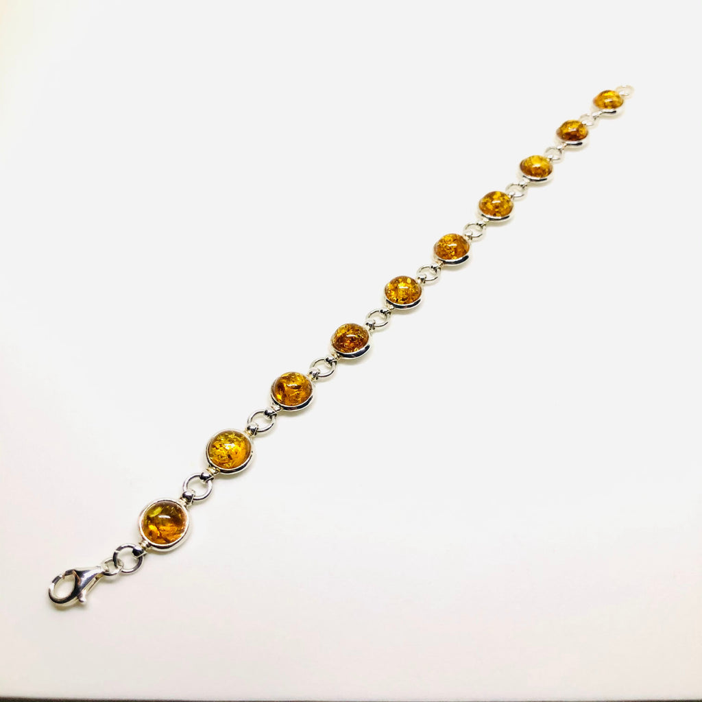 Amber and Silver Round Stones Link Bracelet