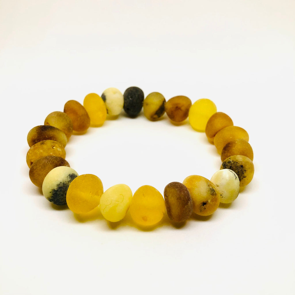Baltic Amber Rounded Beads Bracelet in Mat
