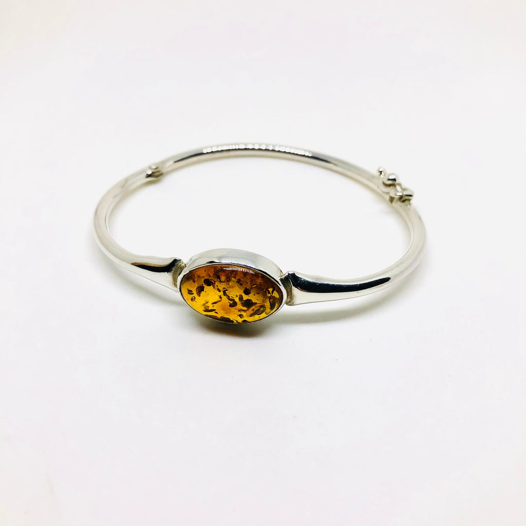 Amber and Silver Simple Bangle Bracelet