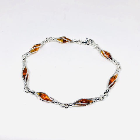 Amber and Swirly Silver Bracelet