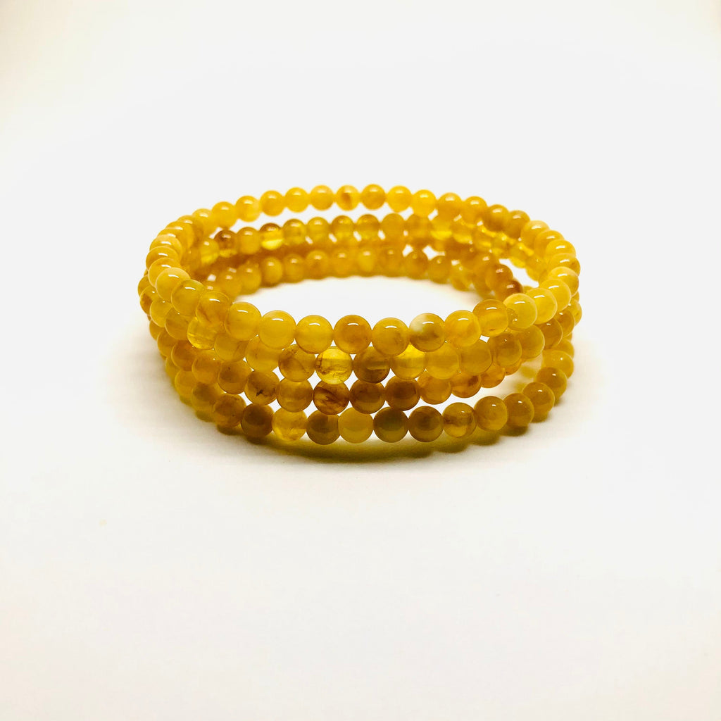 Small Beads Butterscotch Amber Bracelets on Elastic