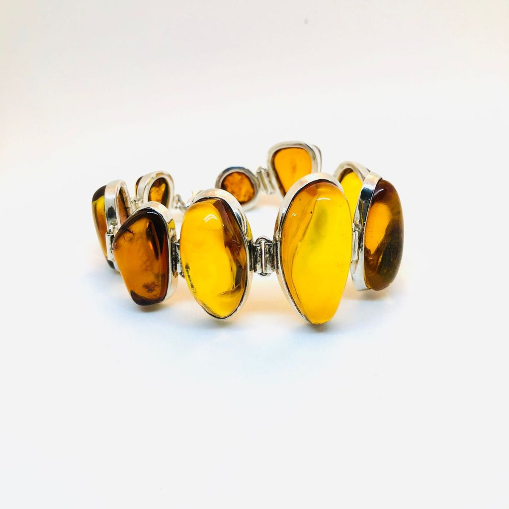 Unique Baltic Amber Link Bracelet