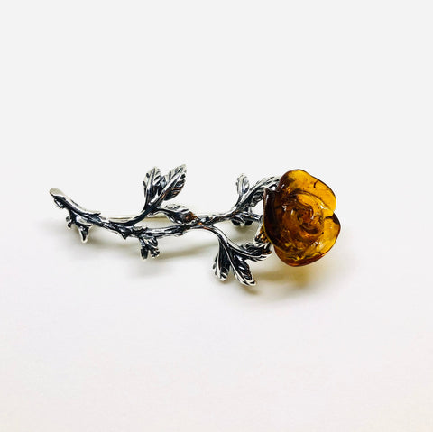Rose Brooch in Silver and Baltic Amber