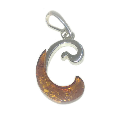 "Amber and Silver Pendant - Initials ""C"""
