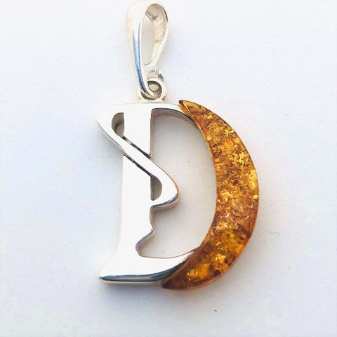 "Amber and Silver Pendant - Initial ""D"""