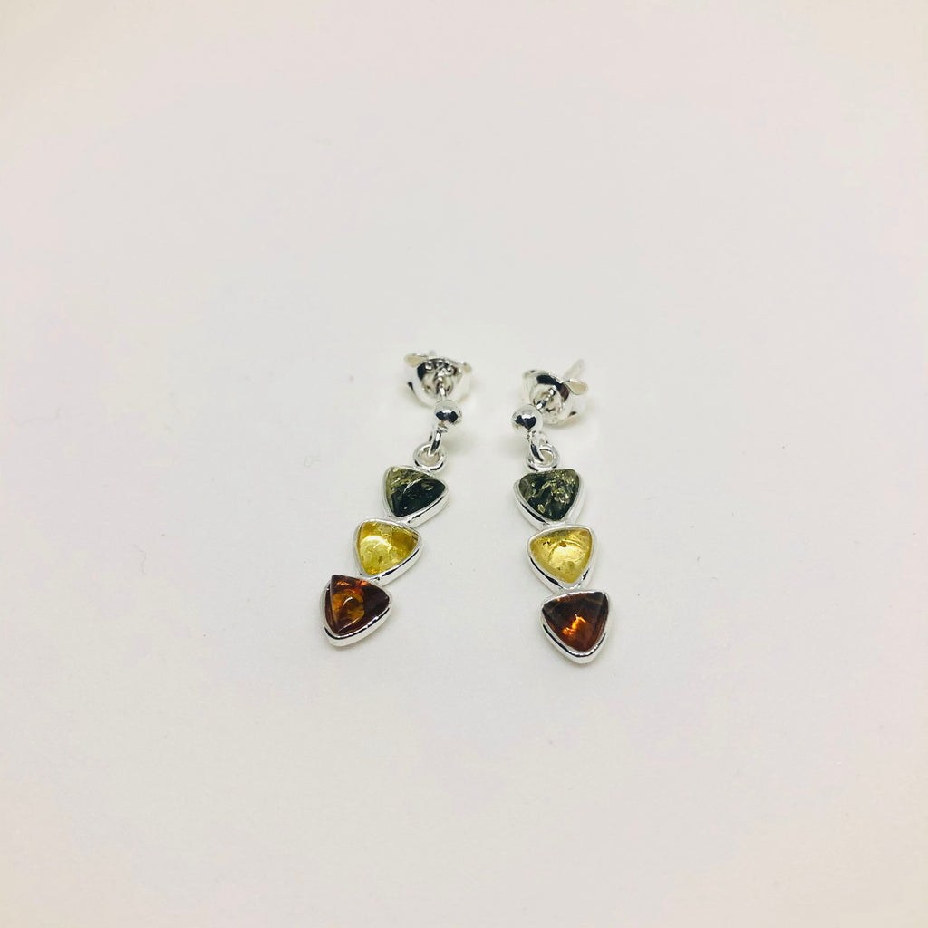 Three Triangles Multicolur Amber Earrings