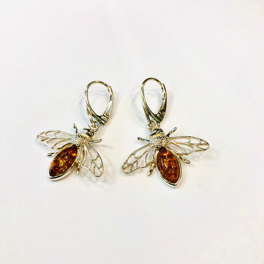 Honey Bee Amber Earrings