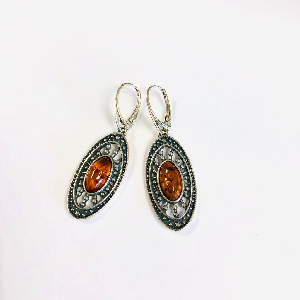 Large Amber Earrings in Antique Setting