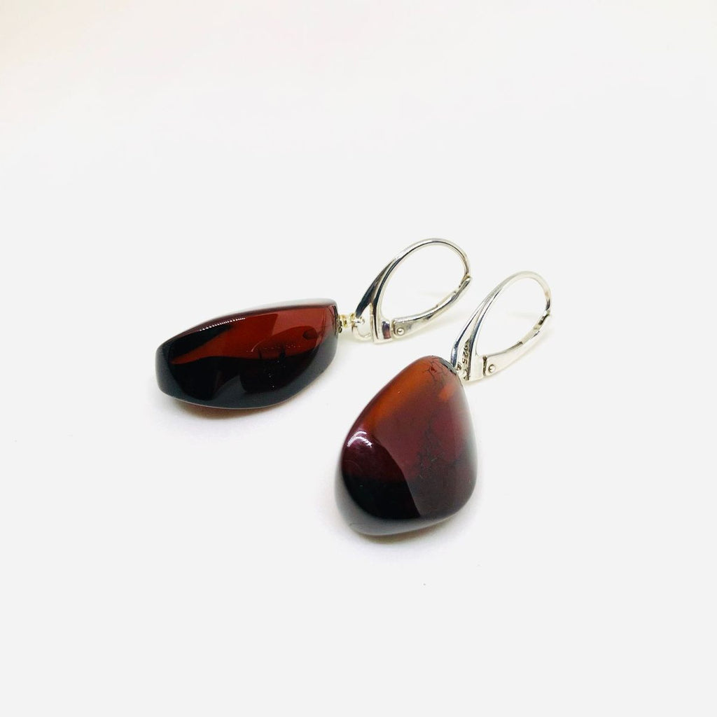 Large Cherry Amber Earrings