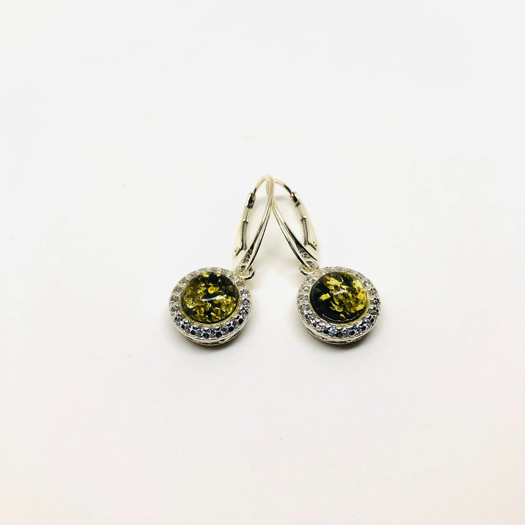 Green Amber Earrings with Cubic Zirconia