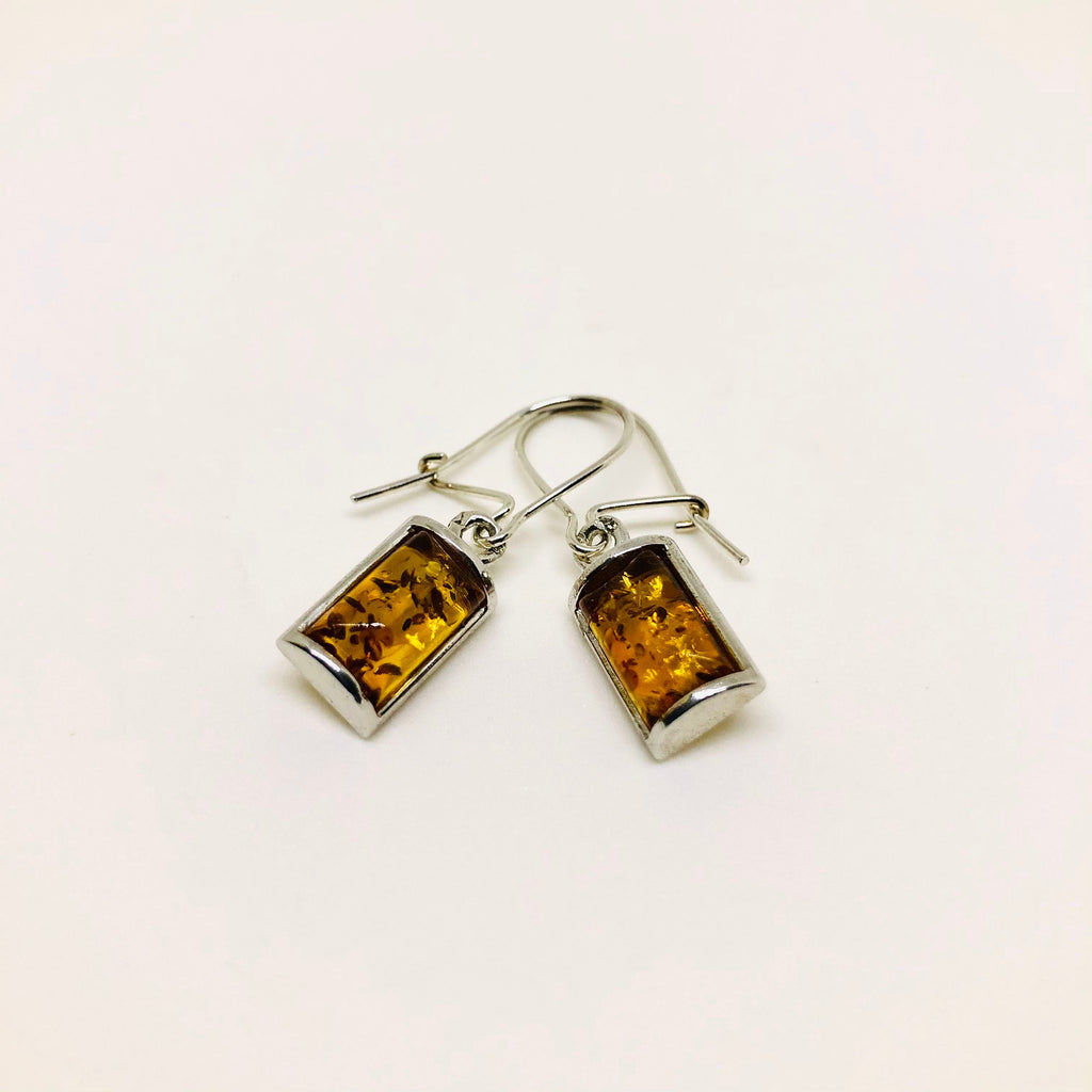 Amber and Silver Rectangular Hanging Earrings