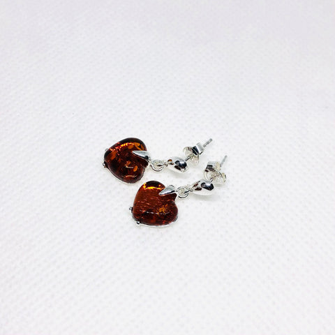 Amber and Silver Heart Earrings