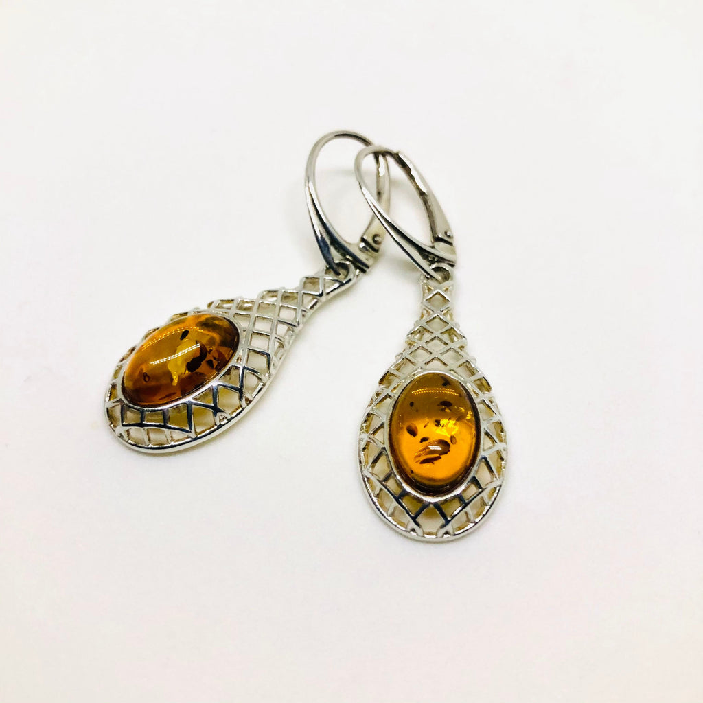 Baltic Amber Earrings in a Silver Net Setting