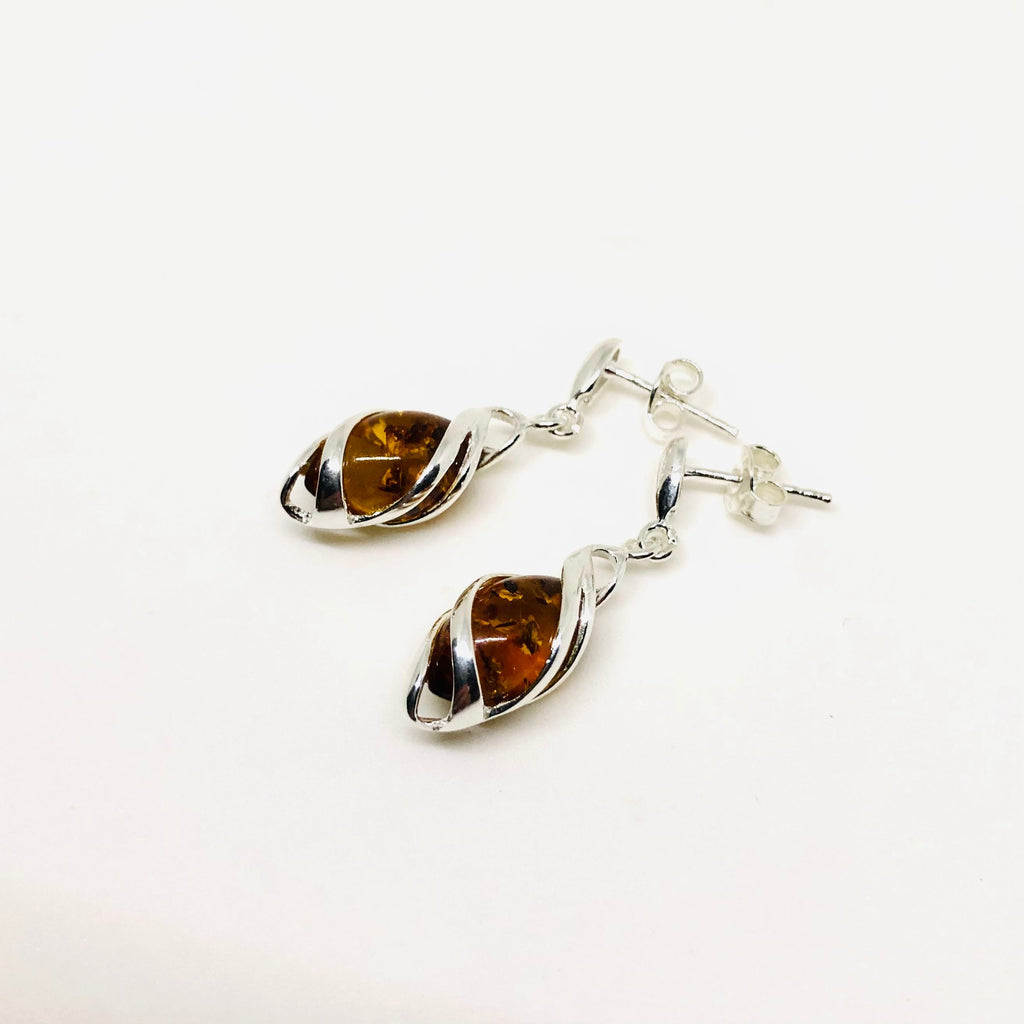 Amber Earrings in Silver Cage