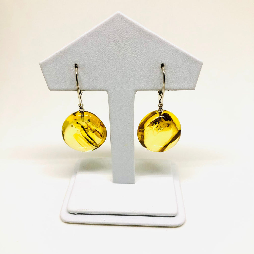 Large Round Citrine Amber Earrings