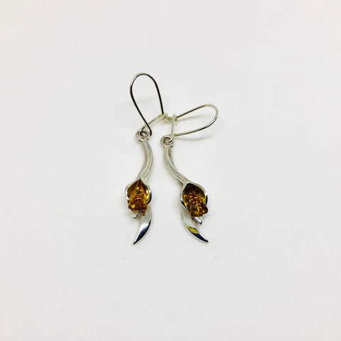 Amber and Silver Hanging Lilies Earrings