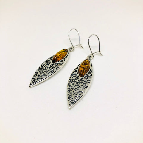 Amber and Silver Marquis Earrings in Wide Filigree Setting