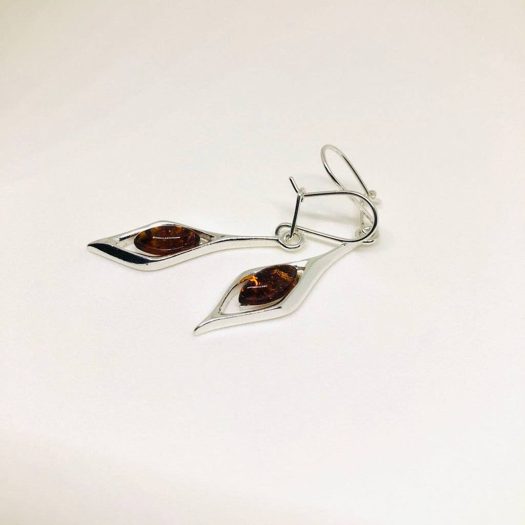 Silver and Amber Modern Earrings