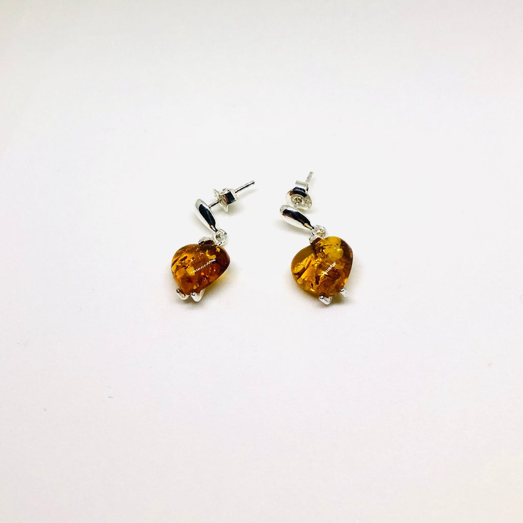Baltic Amber Hanging Hearts Earrings