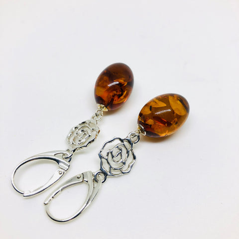 Amber Earrings with a Silver Rose