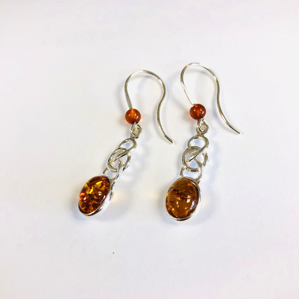 Oval Amber Earrings with Celtic Knot Decoration