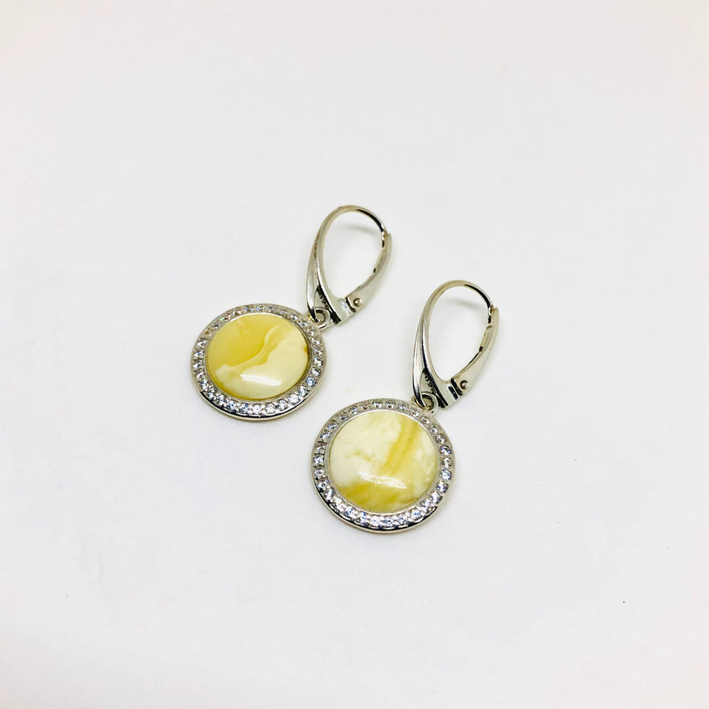Butter Amber Earrings with Zirconia