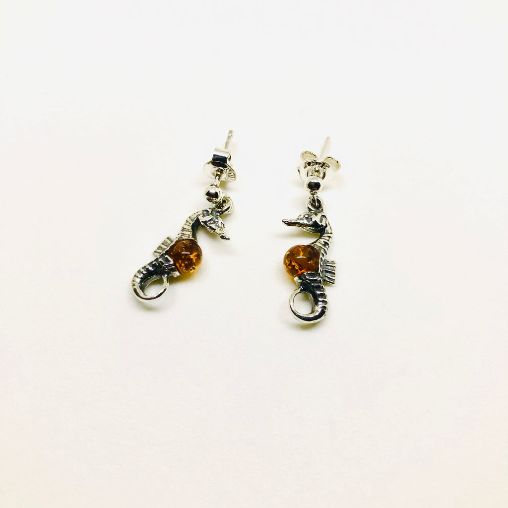 Seahorses Amber and Silver Earrings
