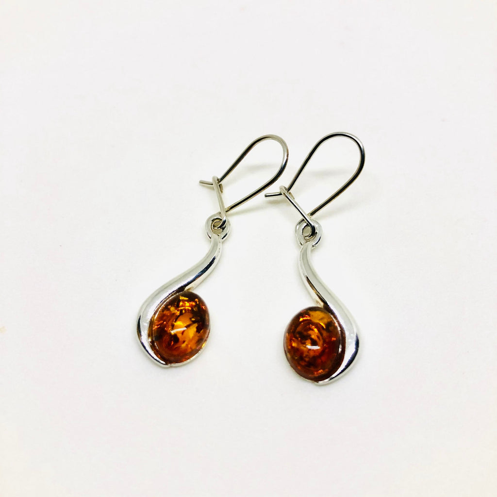 Baltic Amber Oval Earrings with Silver on the Side