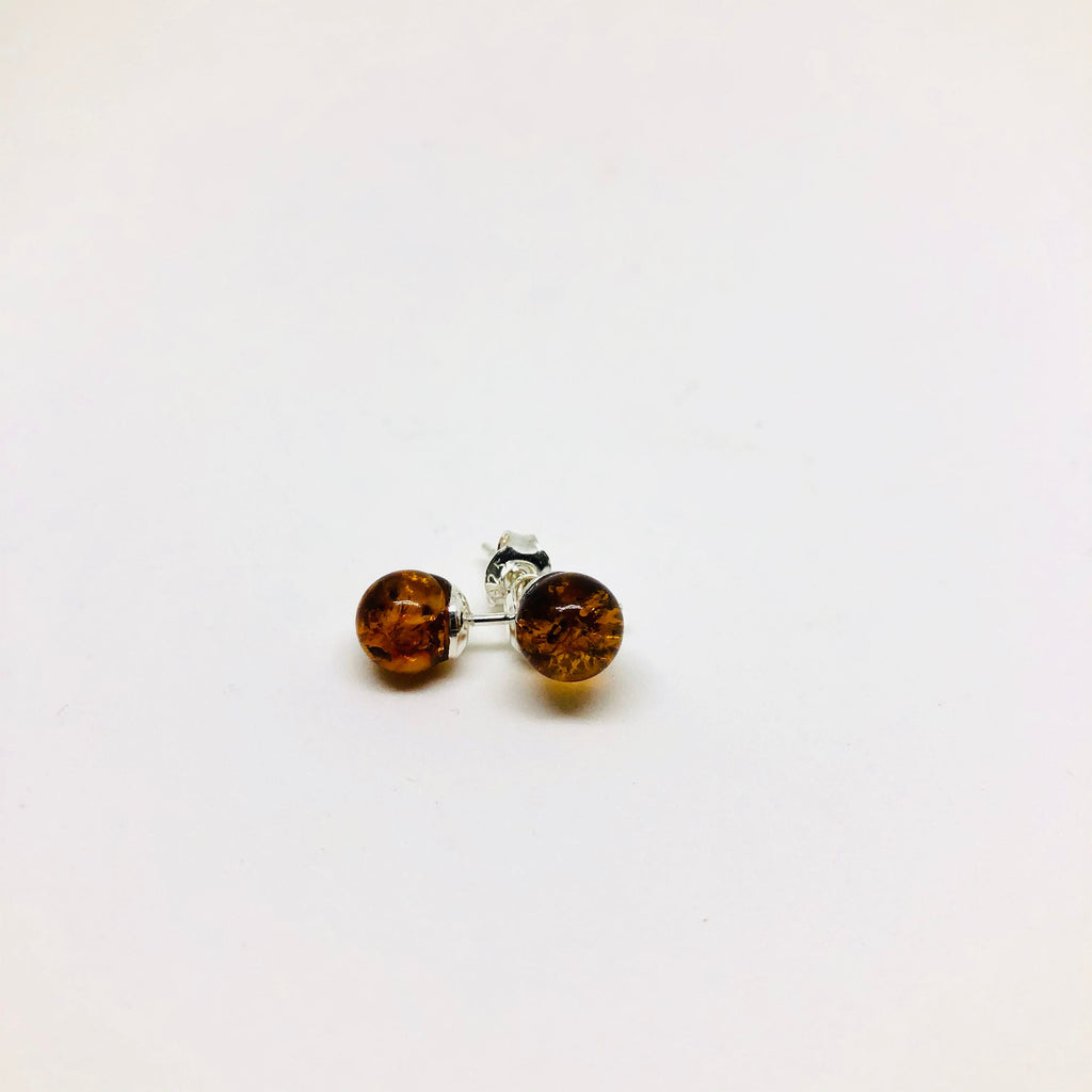 Amber Ball Stud Earrings
