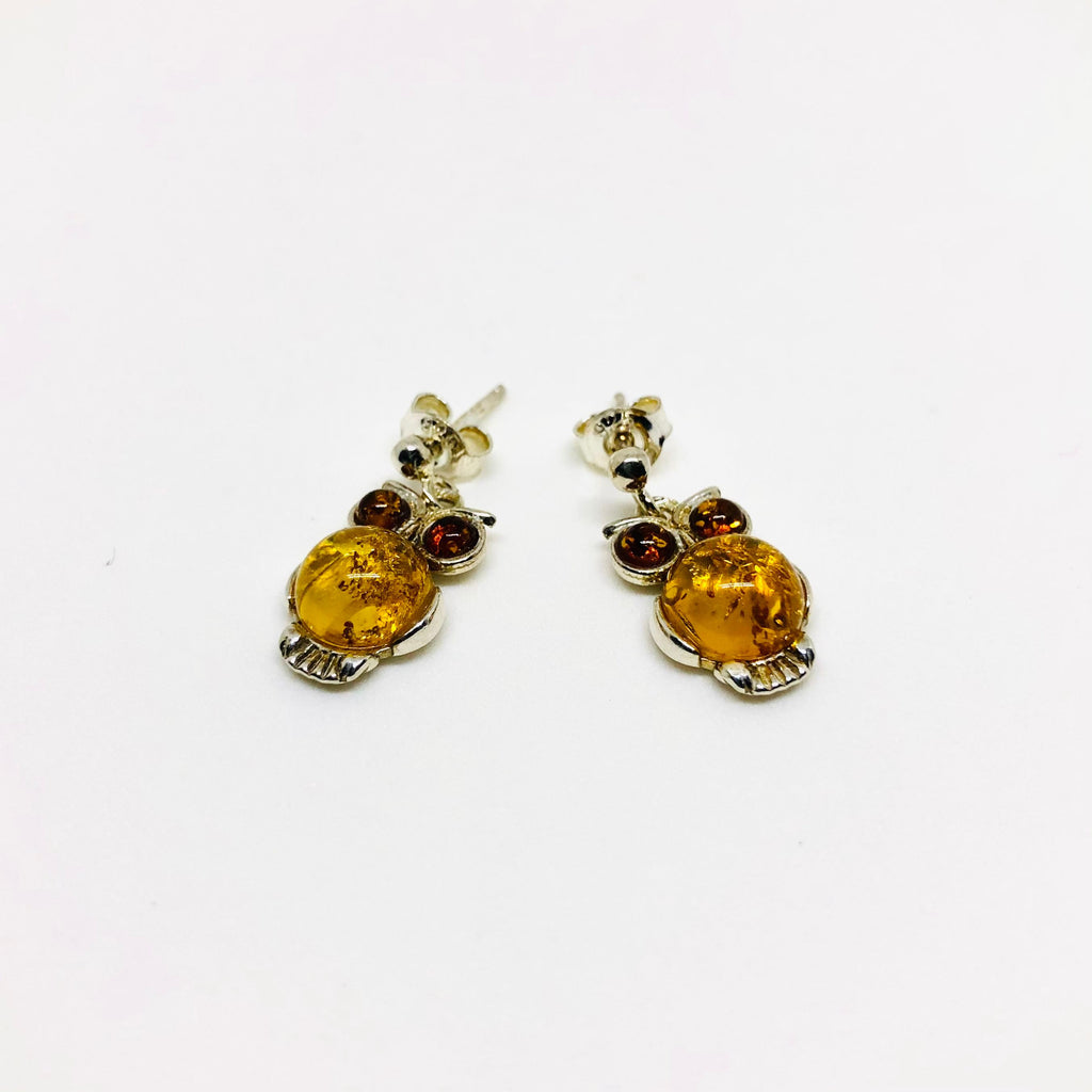 Owl Earrings in Silver with Honey and Cherry Amber