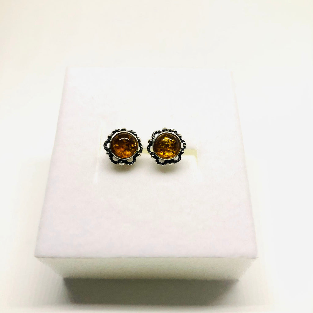 Small Amber Stud Earrings in Filigree setting, Cognac or Green