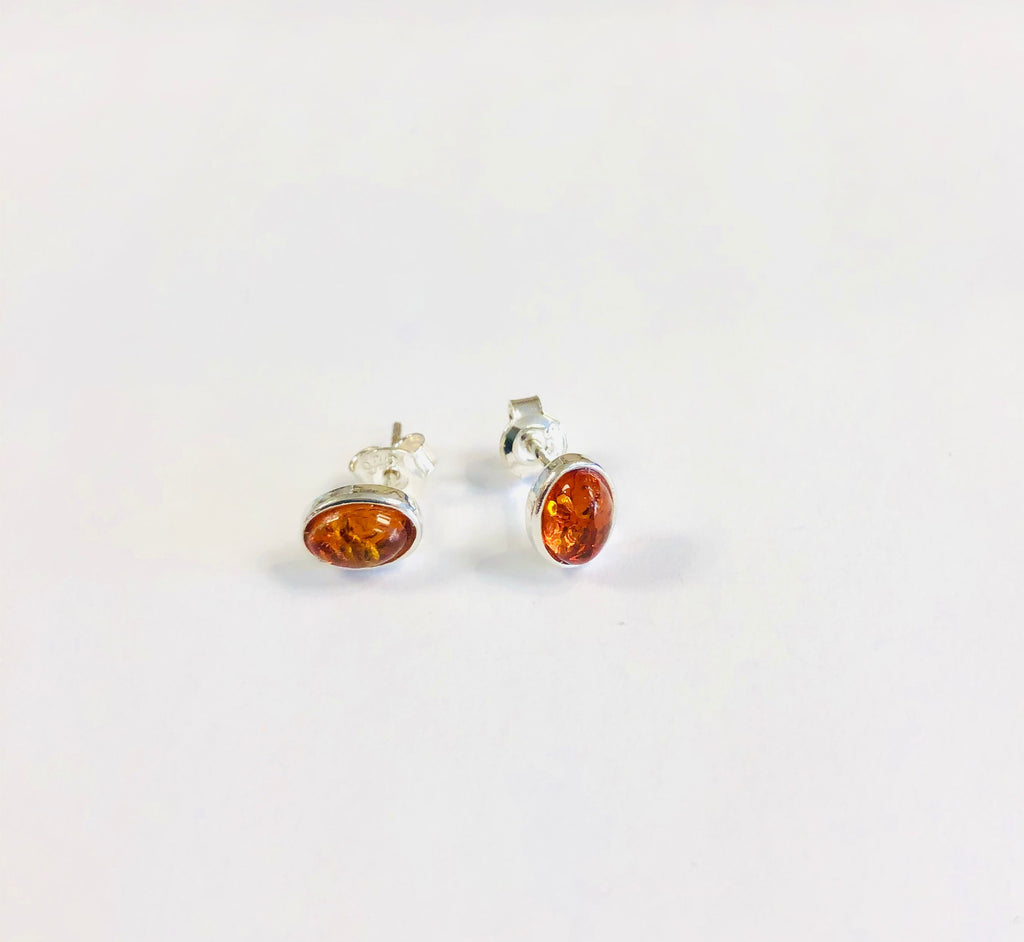 Small Oval Amber and Silver Stud Earrings