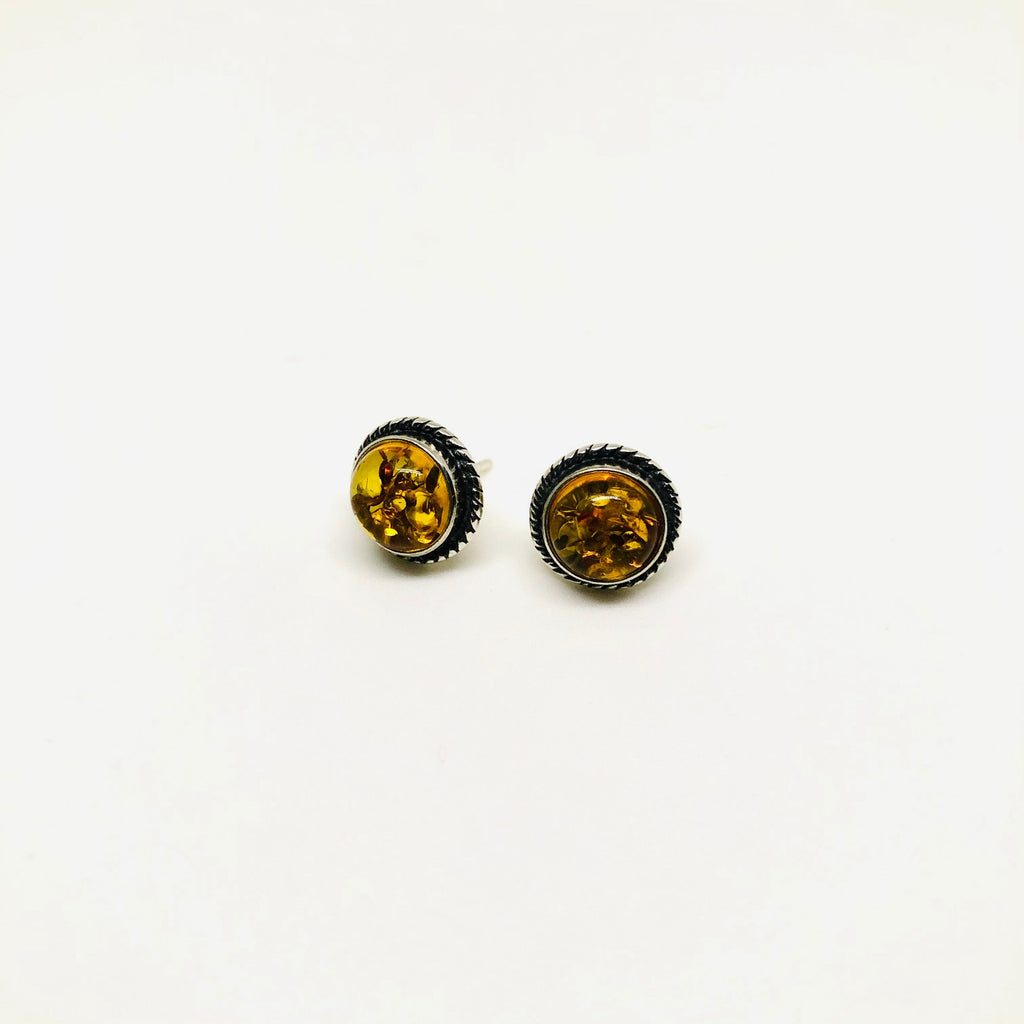 Round Amber Stud Earrings in Silver Rope Setting
