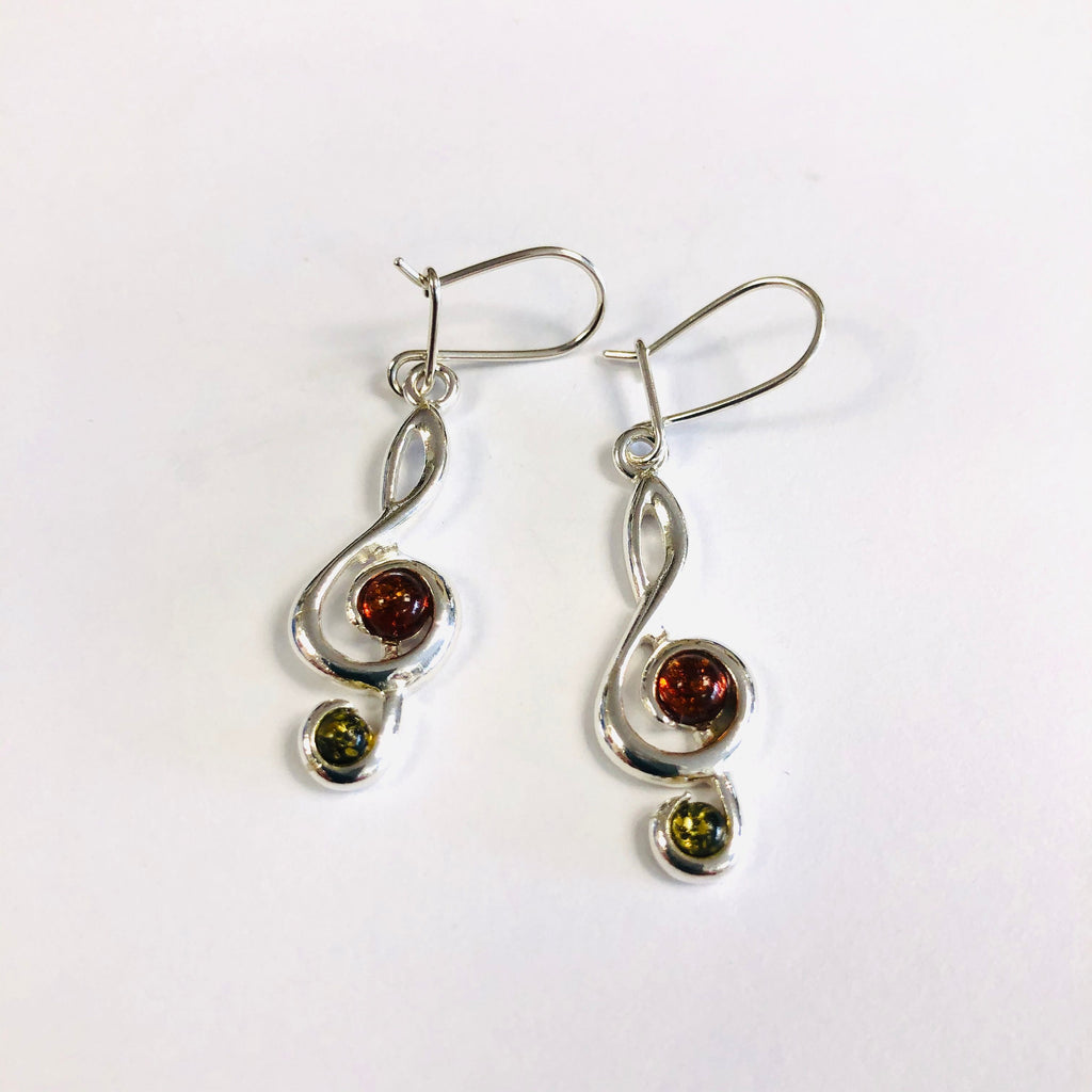 Treble Clef Earrings with Amber