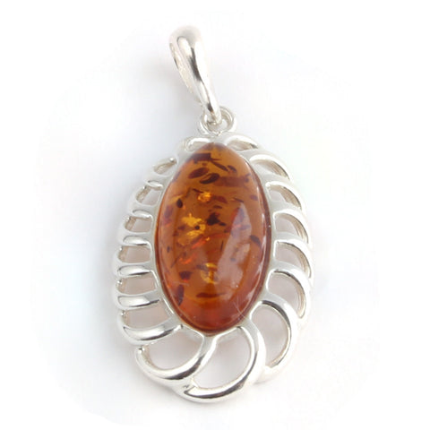Baltic Amber Oval Silver Pendant