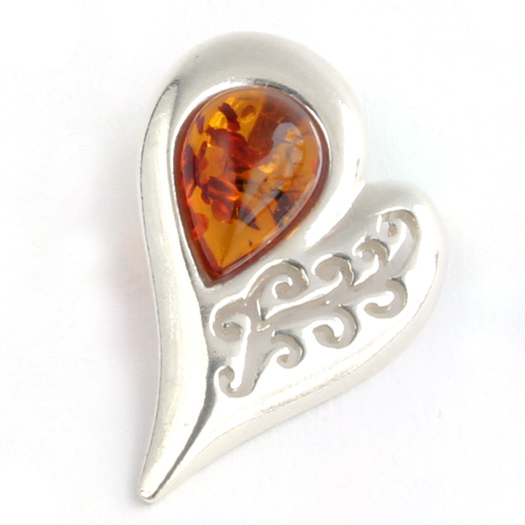Baltic Amber Drop in Silver Heart with Swirl available at The Amber Room.