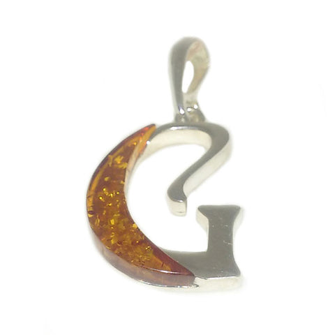 "Amber and Silver Pendant - Initials ""G"""