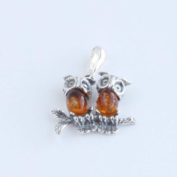 Two Owls Pendant in Amber and Silver